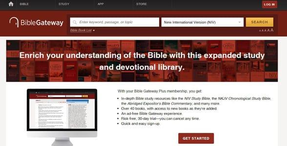 Screenshot of Bible Gateway's Membership Plus page