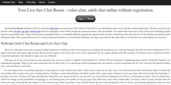 Screenshot of the Chat Zozo homepage