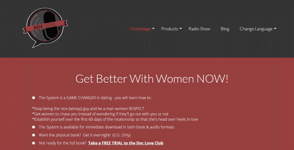 Screenshot of Doc Love's homepage