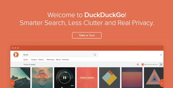 Screenshot of DuckDuckGo's feature landing page