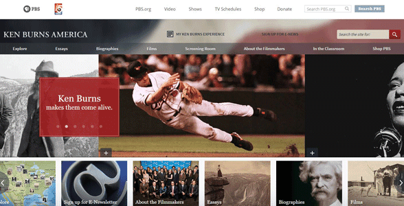 Screenshot of the Ken Burns America homepage
