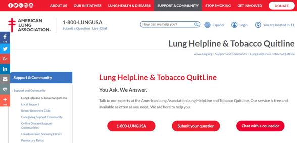 Screenshot of the Lung HelpLine