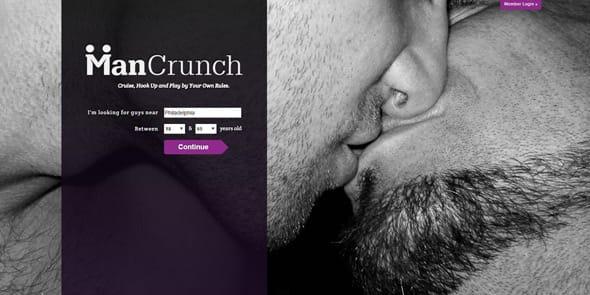 Screenshot of the ManCrunch homepage