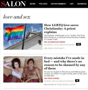 Screenshot of Salon's Love & Sex section
