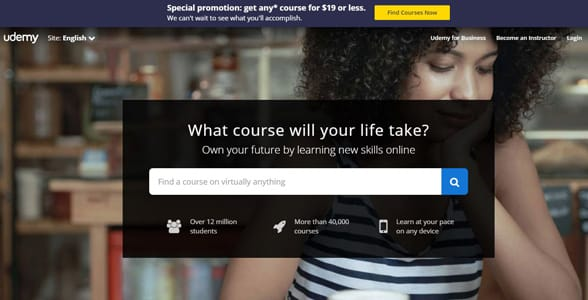 Screenshot of Udemy's homepage
