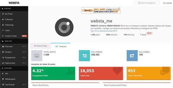 Screenshot of WEBSTA's Instagram profile analysis