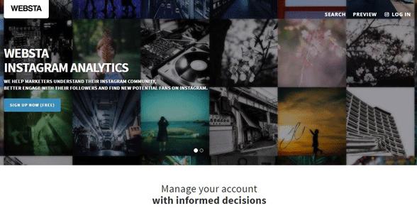 Screenshot of WEBSTA's homepage