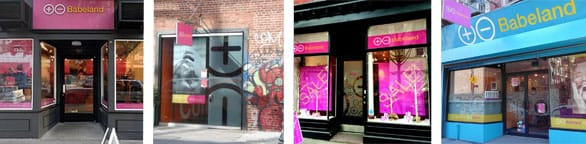Collage of Babeland's storefronts