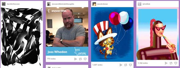 Screenshot of Tumblr's microblogs