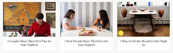 Screenshot of The Kitchn's dating advice articles