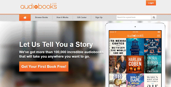 Screenshot of Audiobooks.com's homepage