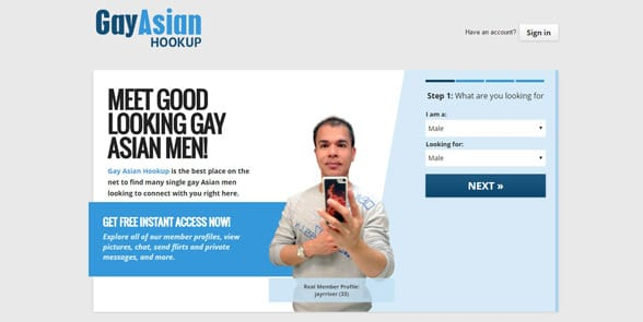 Screenshot of the GayAsianHookup homepage