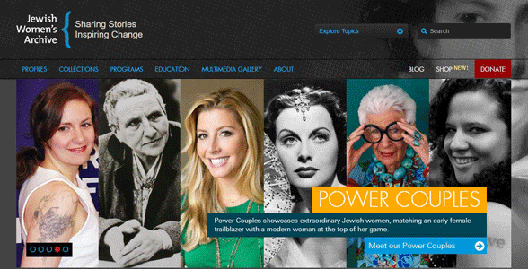 Screenshot of the Jewish Women's Archive homepage