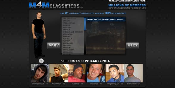 Screenshot of the M4MClassifieds homepage
