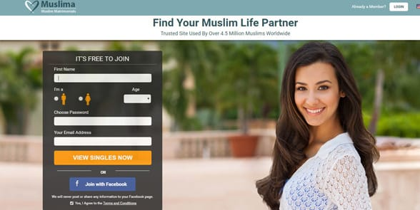 Screenshot of Muslima's homepage