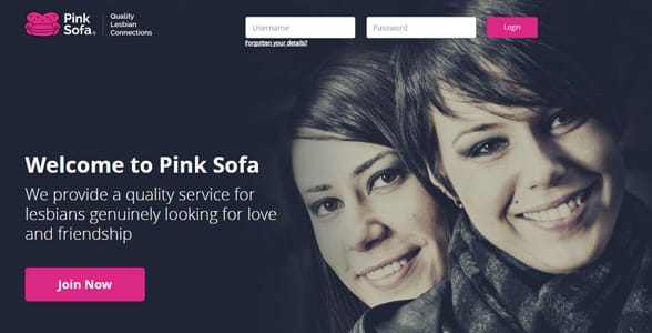 Screenshot of PinkSofa's homepage