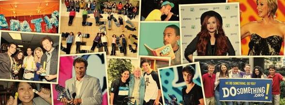Photo collage of celebrities at DoSomething events