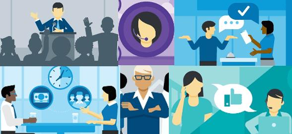 Collage of Lynda.com's communication courses