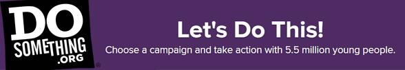Photo of the DoSomething.org logo and slogan