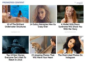 Screenshot of MGID ads