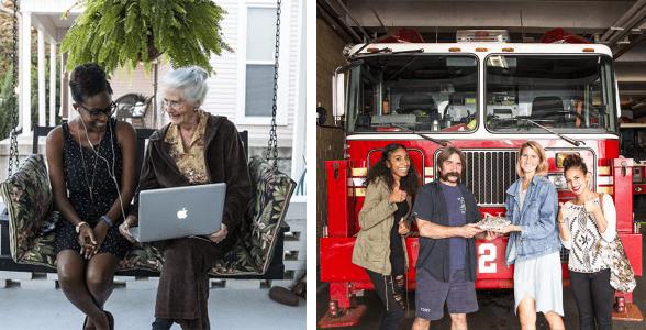 Photo collage of volunteers helping their communities