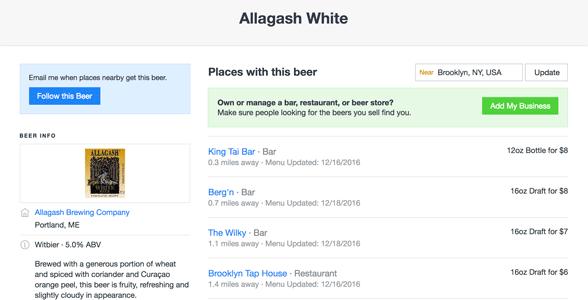 Screenshot of a BeerMenus search page