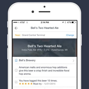 Photo of BeerMenus on mobile