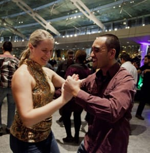 Picture of two people dancing at the Brooklyn Museum's salsa class