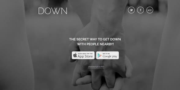 Screenshot of the Down homepage