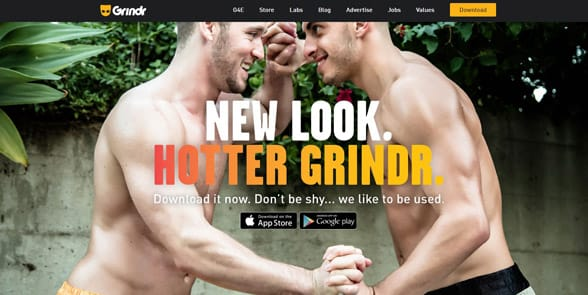 Screenshot of the Grindr homepage