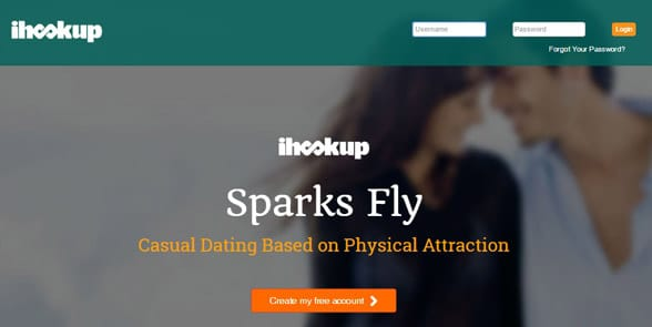 Screenshot of the iHookup homepage