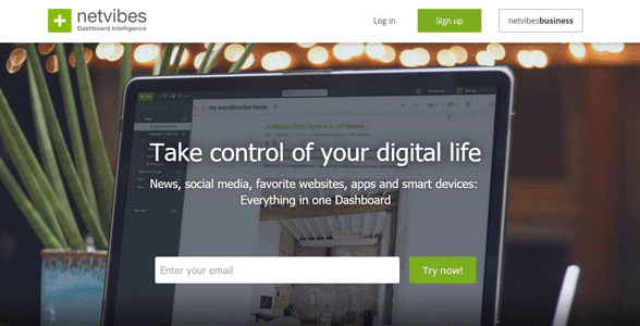 Screenshot of the Netvibes homepage