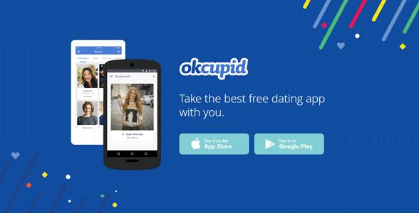 Screenshot of the OkCupid mobile landing page