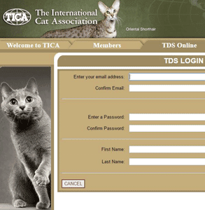 Screenshot of TICA's member login page