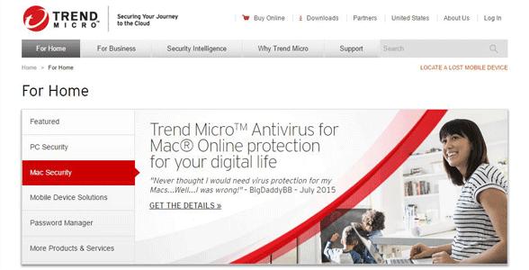 Screenshot of a Trend Micro webpage