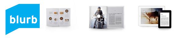 Blurb logo and screenshot of book styles