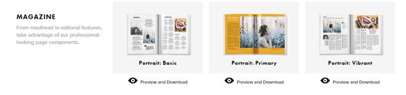 Screenshot of Blurb magazine templates