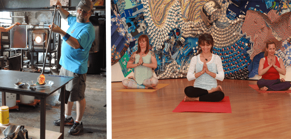 Photos of glassblowing and yoga at OKCMOA