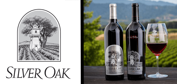The Silver Oak logo and a photo of wine bottles in front of a vineyard