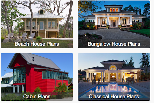 Screenshot of styles of homes on HousePlans.com