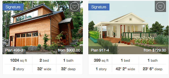 Screenshot of signature plans on HousePlans.com