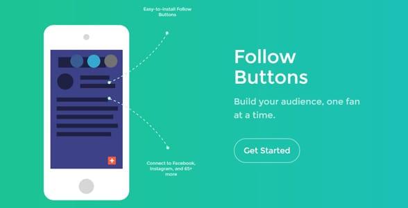 Screenshot of the Follow button landing page