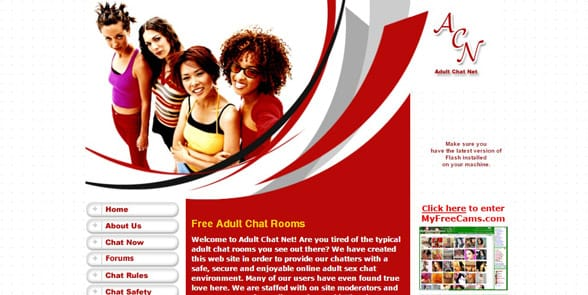 Screenshot of the AdultChat homepage
