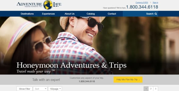 Screenshot of Adventure Life's Honeymoon page