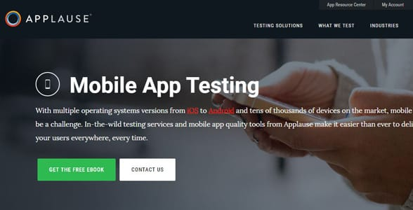 Screenshot of Applause's mobile landing page