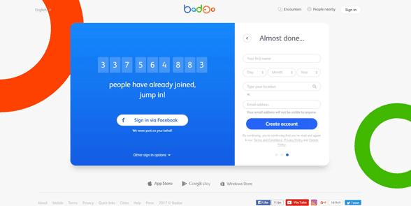 Screenshot of the Badoo homepage