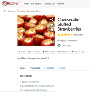 Screenshot of a BigOven recipe