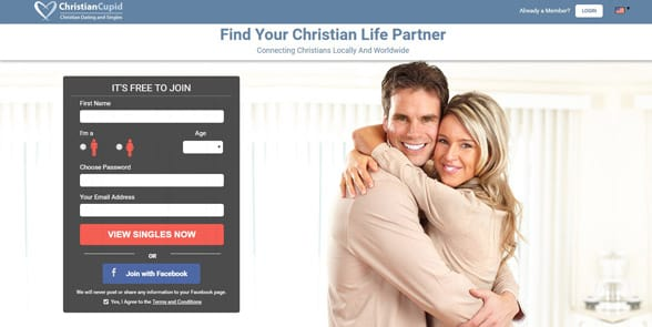 Screenshot of the ChristianCupid homepage