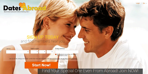 Screenshot of the DatesAbroad homepage
