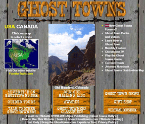 Screenshot of the GhostTowns.com homepage